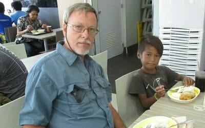 Bruce Wheatley At the restaurant with homeless kid