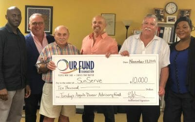 Dexter Green, case manager, Sun Serve; David Jobin, president & CEO, Our Fund Foundation; Don Richard, Tuesday's Angels; Chuck Nicholls, Tuesday's Angels Donor Advisory Fund; Mark Ketcham, executive director, SunServe and Tiffany Arieagus, case manager, SunServe   |   Photo Courtesy of Diana Hanford