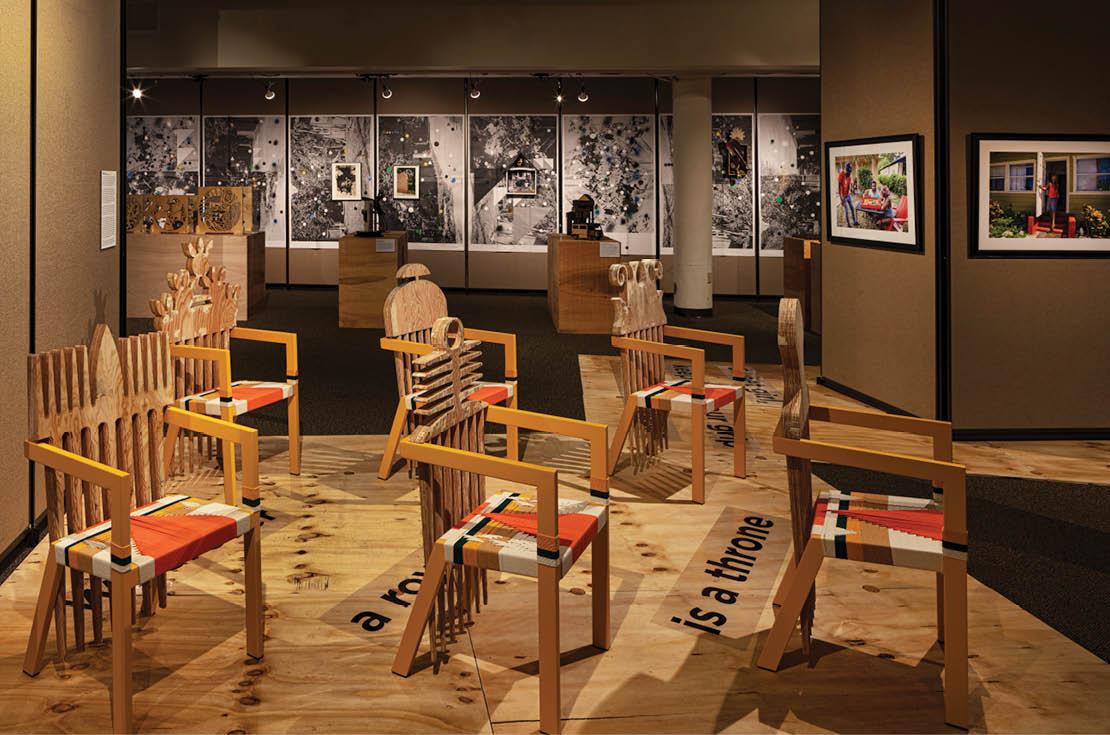Sistrunk_Exhibition installation image showing art by Germane Barnes, Adler Guerrier and David I. Muir
