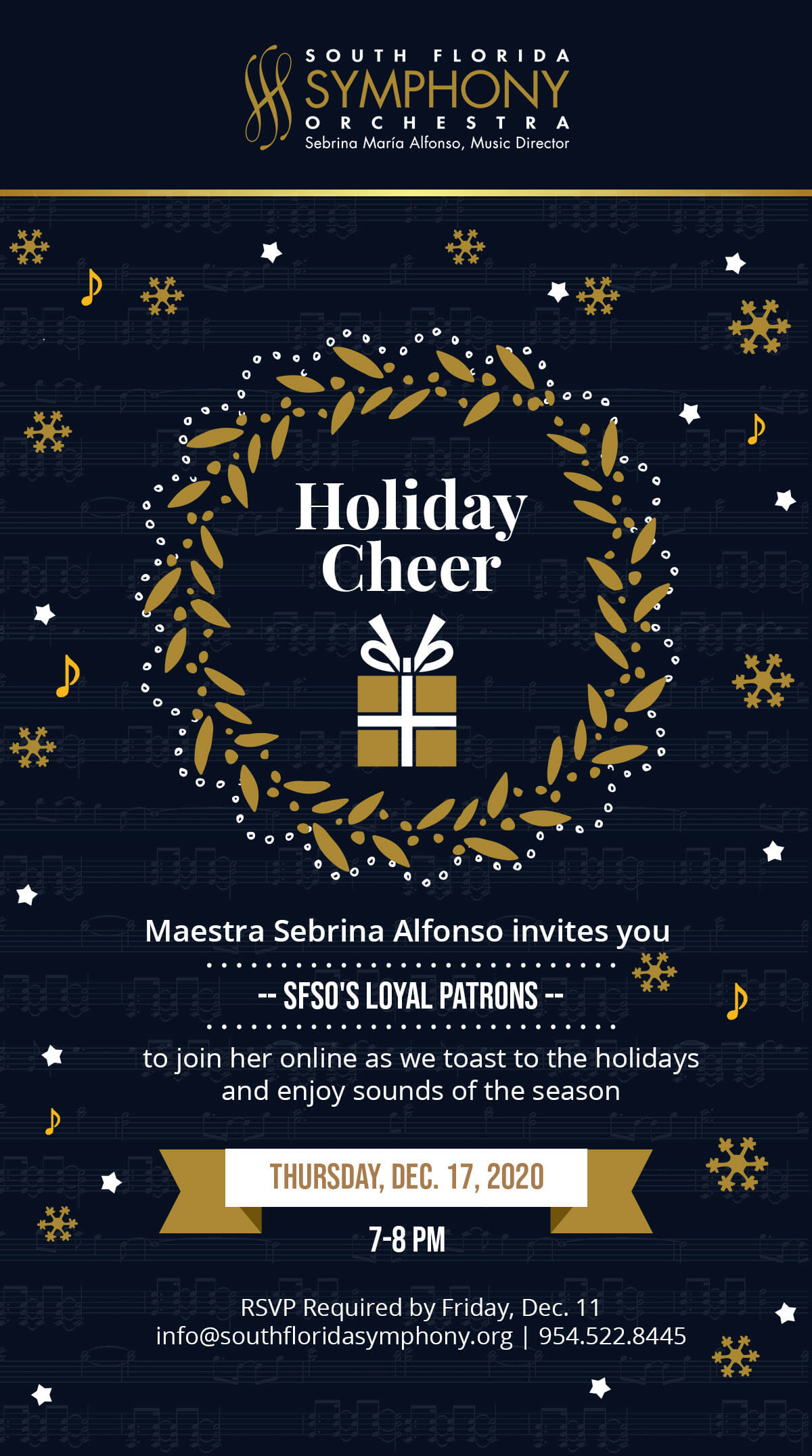 Last Day to RSVP for South Florida Symphony's Virtual Holliday Thursday, December 17 at 7PM