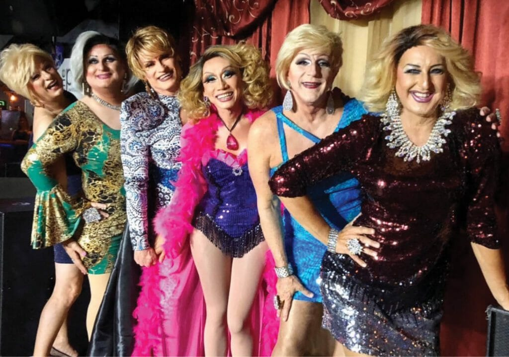 Silettos_ l ocal drag star Candy Cox, along with fellow sisters RaeJean Cox, Mitzi Ross, Verandah Lanai, and Leila Cox _ Group Photo
