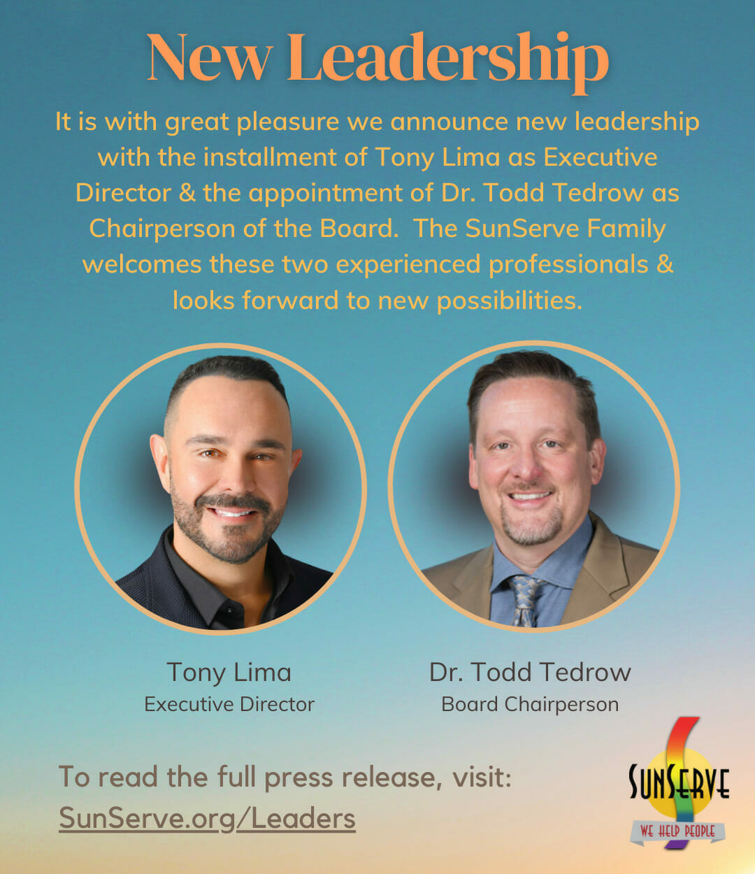 Read more about the article SunServe's Board of Directors is Thrilled to Announce the Agency's New Leadership